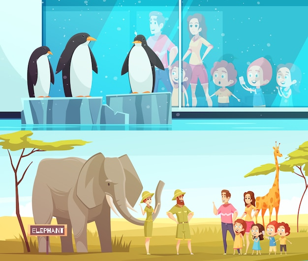 Zoo animals 2 cartoon-banner-set Kostenlosen Vektoren