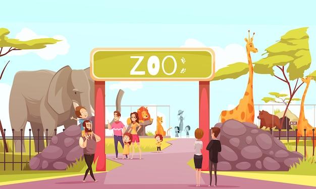 Zoo-eingangstor-karikatur Kostenlosen Vektoren