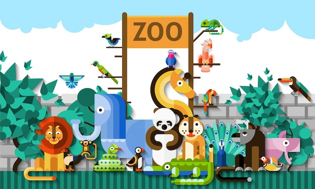 Zoo-hintergrund-illustration Kostenlosen Vektoren