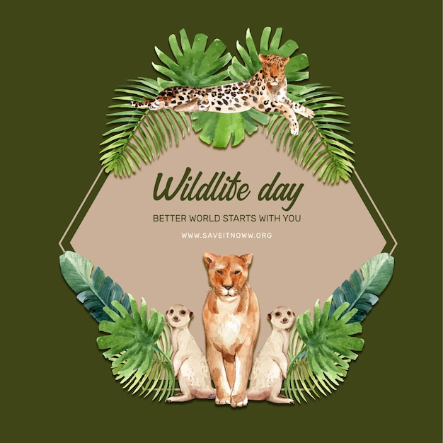 Zoo kranz design mit leopard, löwe, erdmännchen aquarell illustration, Kostenlosen Vektoren