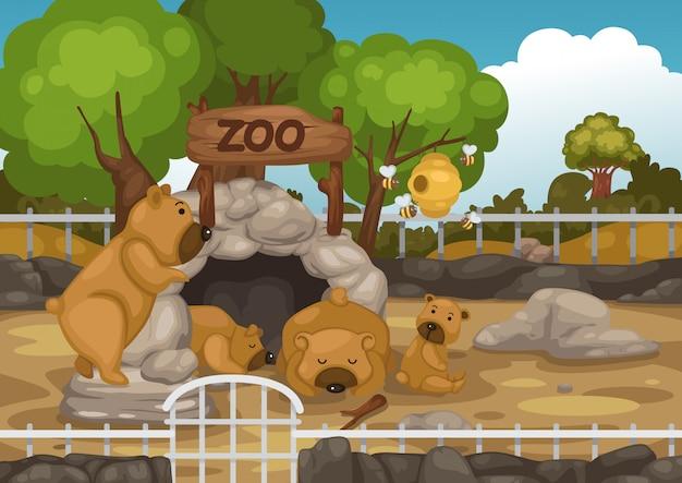 Zoo und bärenvektor Premium Vektoren