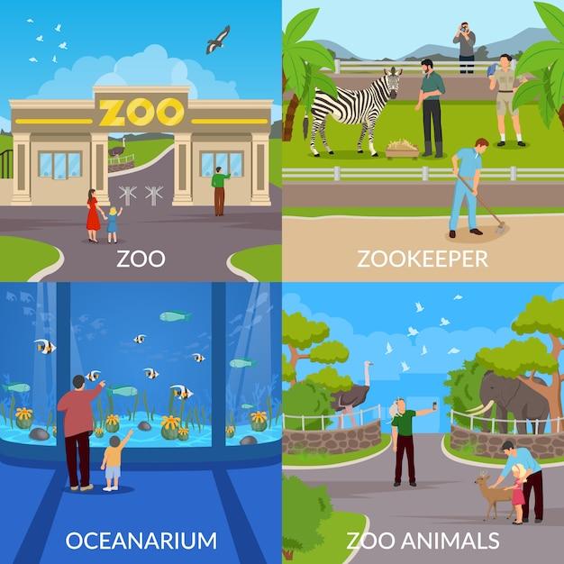 Zoo- und ozeanariumsszenen Kostenlosen Vektoren