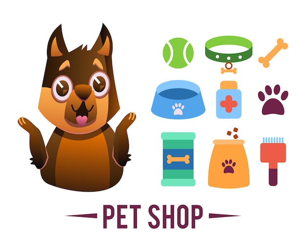 Zoohandlung poster, hund mit haustieren Kostenlosen Vektoren