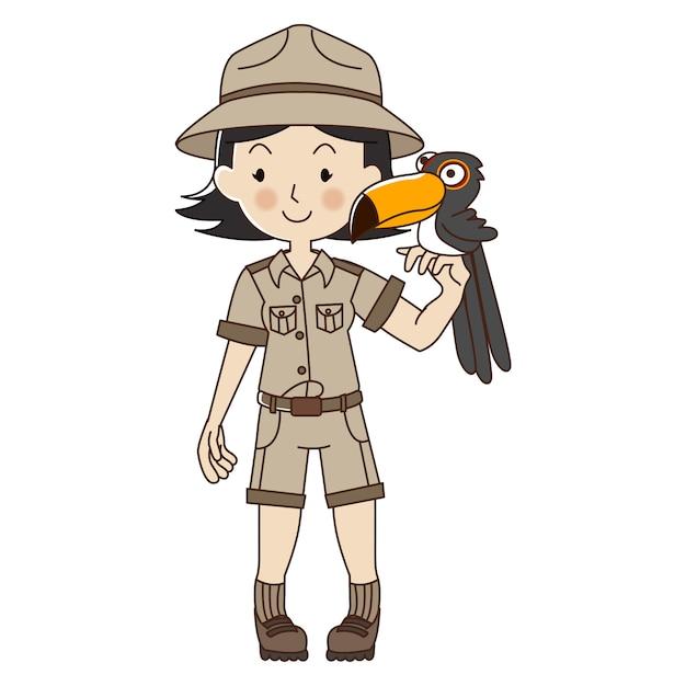 Zookeeper frau Premium Vektoren