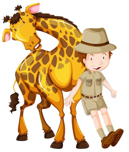 Zoologe und wilde giraffe Kostenlosen Vektoren