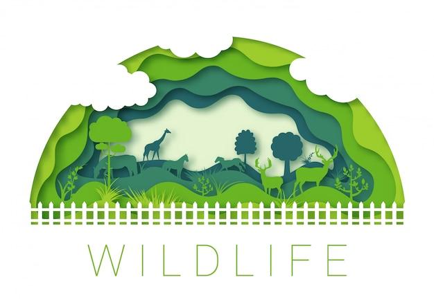 Zooumgebung der wild lebenden tiere, kunstorigamientwurf des papiers 3d Premium Vektoren