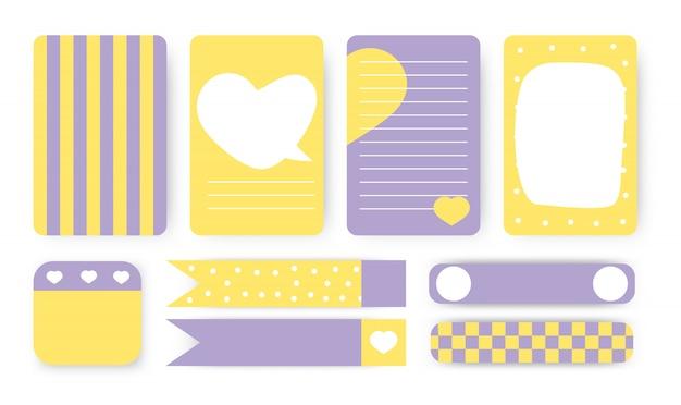 Zu erledigen liste, aufkleber und klebeband set. nette planer-notizbuchseite. notizpapier mit abstraktem herz von hand gezeichneten formen. karte ideal für druckbare kinder veranstalter Premium Vektoren