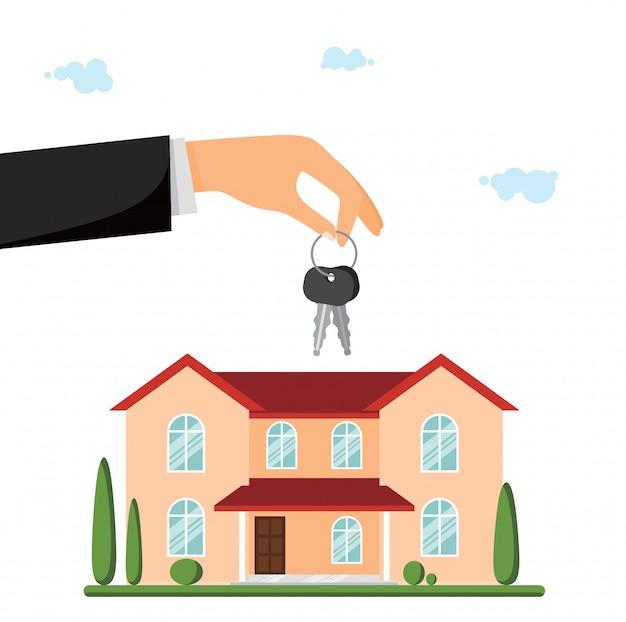 Zu verkaufen villa oder landhaus. hand geben die schlüssel Premium Vektoren