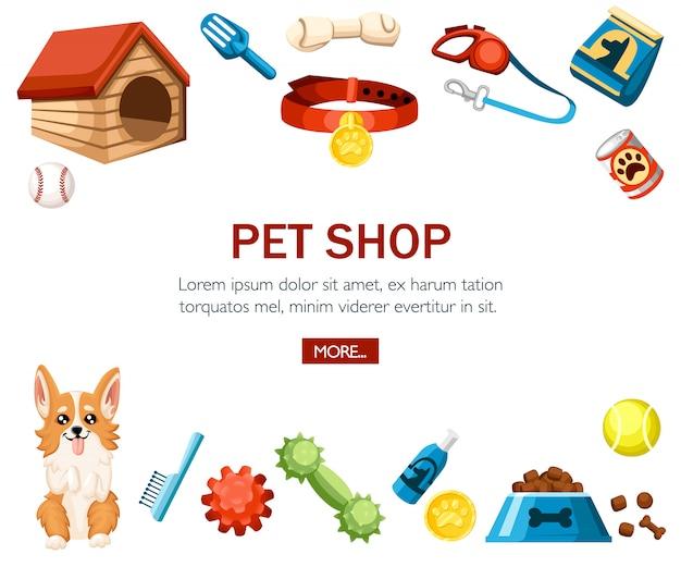 Zubehör für die haustierpflege. dekorative ikonen der tierhandlung. zubehör für hunde. illustration auf weißem hintergrund. konzept für website oder werbung Premium Vektoren
