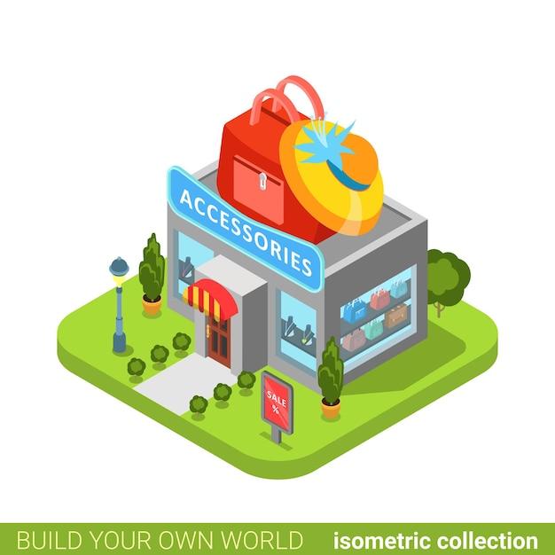 Zubehör kleidung kleidung mode boutique shop tasche hut form gebäude immobilien immobilienkonzept. Premium Vektoren