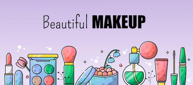 Zubehör stellte make-upillustrationshintergrund ein Premium Vektoren