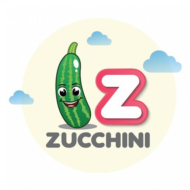 Zucchini-maskottchen mit buchstaben z Premium Vektoren