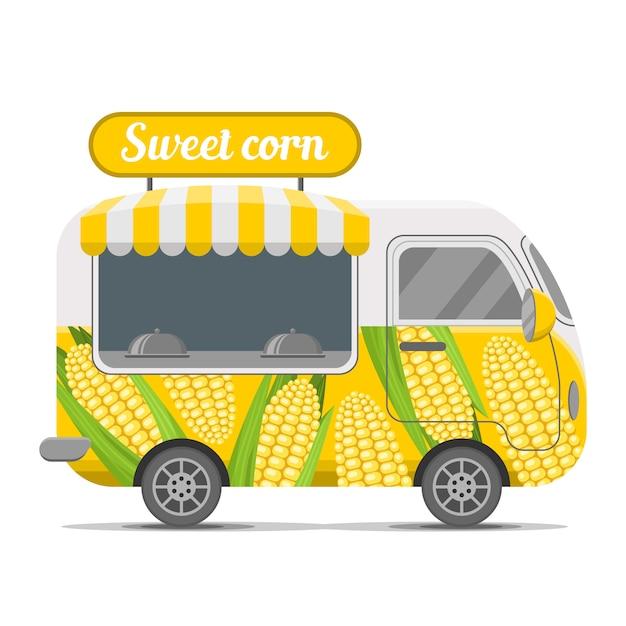 Zuckermaisstraßenlebensmittel-wohnwagenanhänger Premium Vektoren
