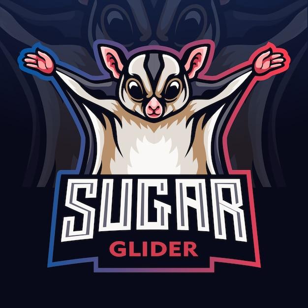 Zuckersegelflugmaskottchen. esport-logo Premium Vektoren