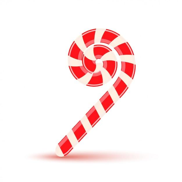 Zuckerstock, weihnachtssüßigkeit lokalisiert auf einem weißen hintergrund. Premium Vektoren