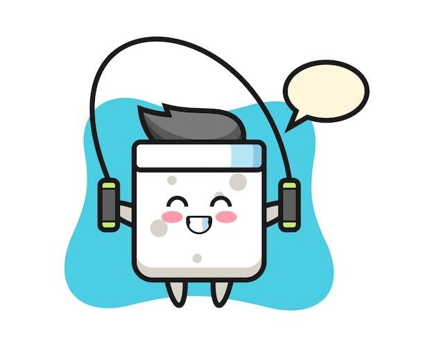 Zuckerwürfel-charakter-karikatur mit springseil, niedlicher stil für t-shirt, aufkleber, logoelement Premium Vektoren