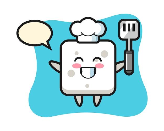 Zuckerwürfel-charakterillustration als koch kocht, niedlicher stil für t-shirt, aufkleber, logoelement Premium Vektoren