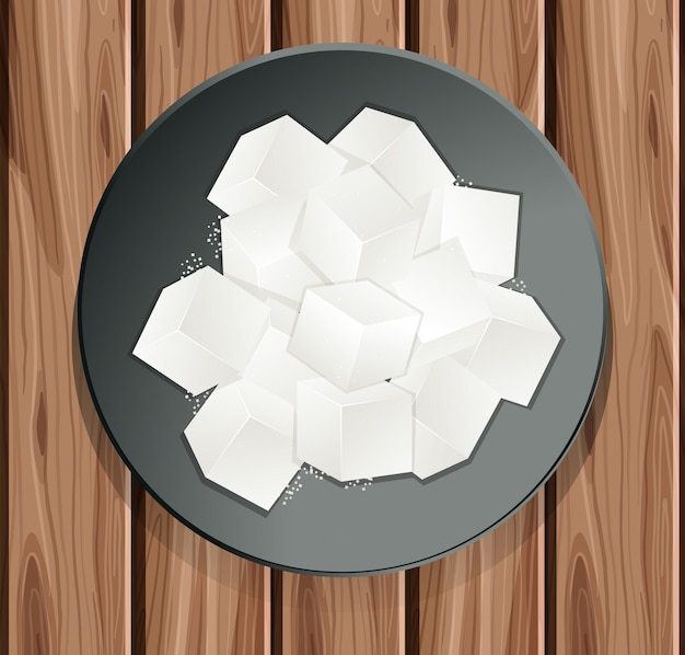 Zuckerwürfel in der platte Premium Vektoren