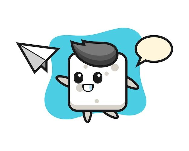 Zuckerwürfel-zeichentrickfigur, die papierflugzeug wirft, niedlichen stil für t-shirt, aufkleber, logoelement Premium Vektoren