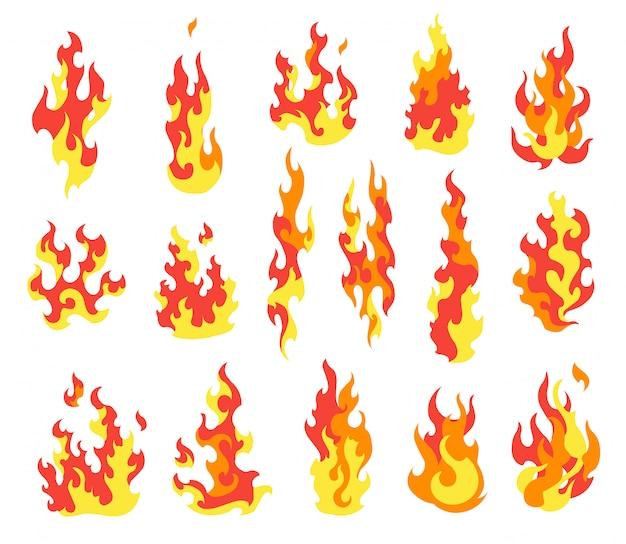Zünde feuer an. karikatursammlung der abstrakten stilisierten feuer. flammende illustration. komische gefährliche flamme feuert isolierten vektor ab. heißes malen Premium Vektoren