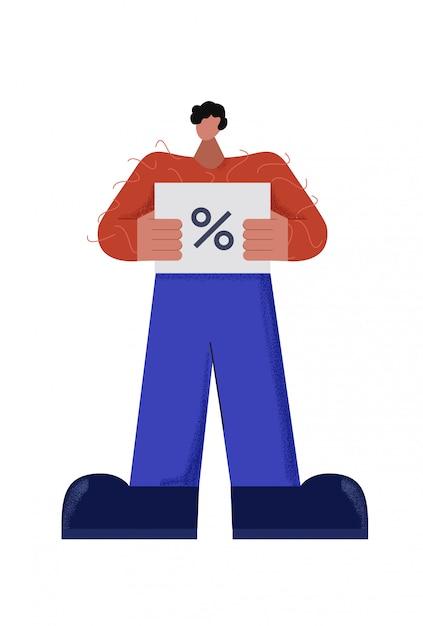 Zufälliger männlicher charakter, der rabattkarte mit flacher illustration des prozentzeichens hält Premium Vektoren