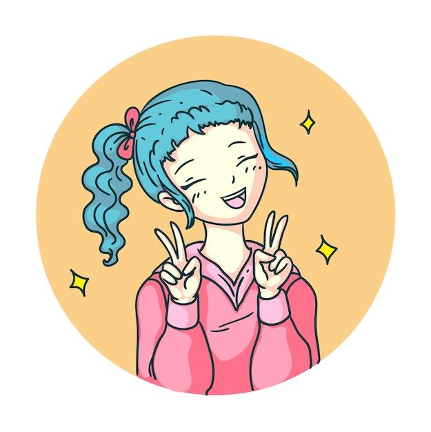 Zufrieden überglücklich anime manga mädchen lachen isoliert emoji Premium Vektoren