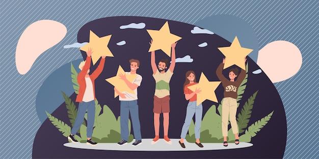 Zufriedene kunden bewerten die servicequalität mit bewertungssternen Premium Vektoren