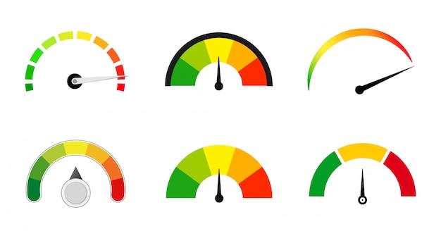 Zufriedenheits-meter-skala eingestellt Premium Vektoren