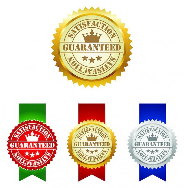 Zufriedenheitsgarantie-etiketten Premium Vektoren