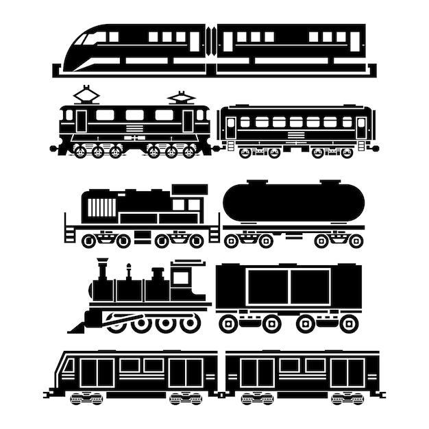 Zug, himmelszug, u-bahn-symbole eingestellt. symbole für fahrgäste und öffentliche verkehrsmittel. transportreisen, fahrzeugverkehr, Kostenlosen Vektoren