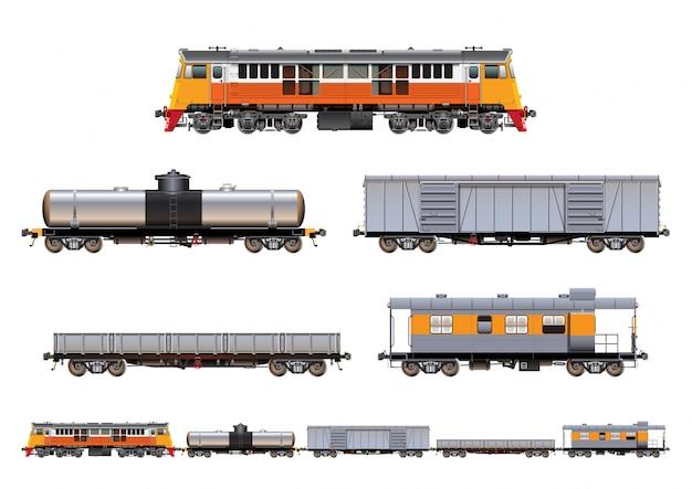 Zug stellte ladung ein Premium Vektoren