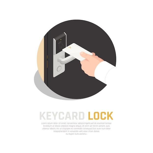 Zugangsidentifikation isometrische zusammensetzung der schlüsselkarte in der menschlichen hand mit hintergrund des türgriffsensors des gästezimmers Kostenlosen Vektoren