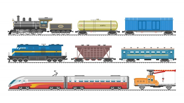 Zugvektor-eisenbahntransportlokomotive oder -wagen und u-bahn- oder u-bahn-transportillustrationssatz des transportablen fahrzeugs oder wagens auf bahnhof lokalisiert auf weißem hintergrund Premium Vektoren