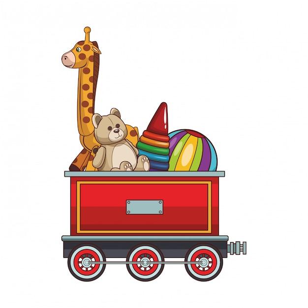 Zugwagen mit spielzeug Premium Vektoren