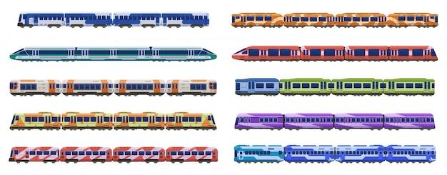 Zugwagen. personenbahnzüge, moderne u-bahn-hochgeschwindigkeitszüge, stadttransportillustrationsikonen eingestellt. verschiedene straßenbahn- und reihenwagen, zugwagen Premium Vektoren