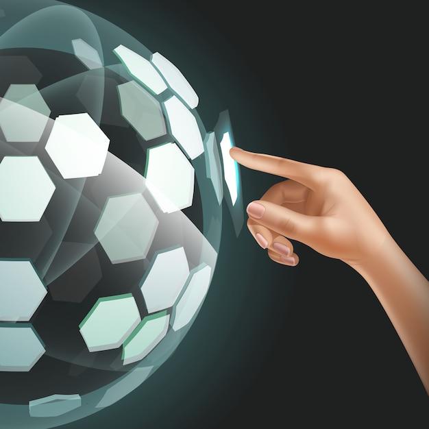 Zukünftige benutzerschnittstellentechnologie oder futuristischer holographischer touchscreen Premium Vektoren