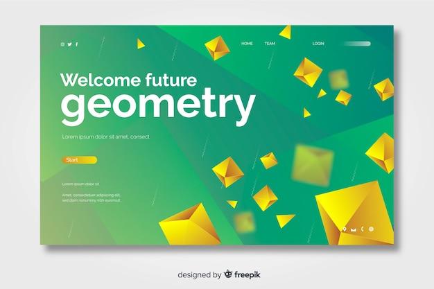 Zukünftige geometrische landingpage 3d mit goldenen diamanten Kostenlosen Vektoren