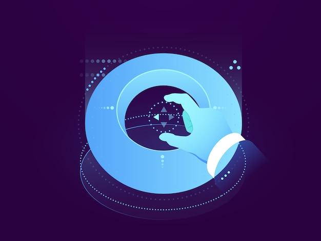 Zukünftige schnittstelle, bedienfeld, hand- und holografische anzeige, verarbeitung großer daten, gebäudebenutzer Kostenlosen Vektoren