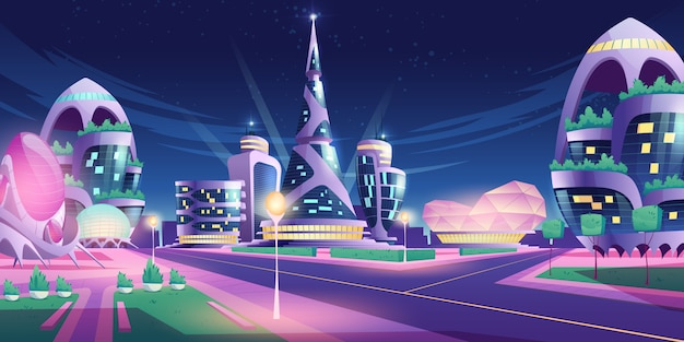 Zukünftige stadt mit wolkenkratzern und kreuzung Kostenlosen Vektoren