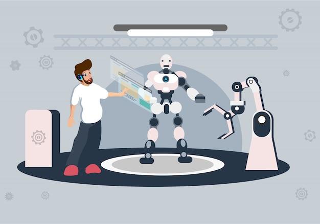 Zukünftige technologie der illustration der künstlichen intelligenz Premium Vektoren