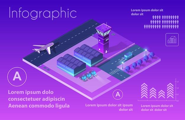 Zukünftiger isometrischer flughafen 3d Premium Vektoren