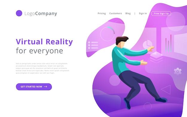 Zukünftiger technologiemann in die virtuelle realität, die schnittstellenwebsiteschablone berührt und redigiert Premium Vektoren