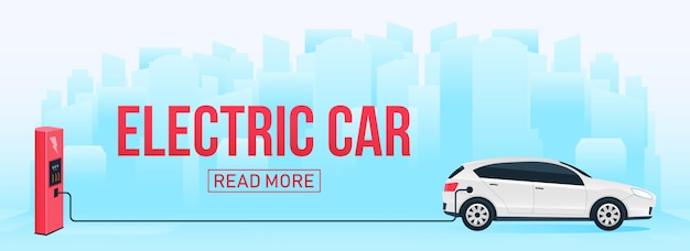 Zukünftiges auto der elektrischen ladestation, ebewegung. Premium Vektoren