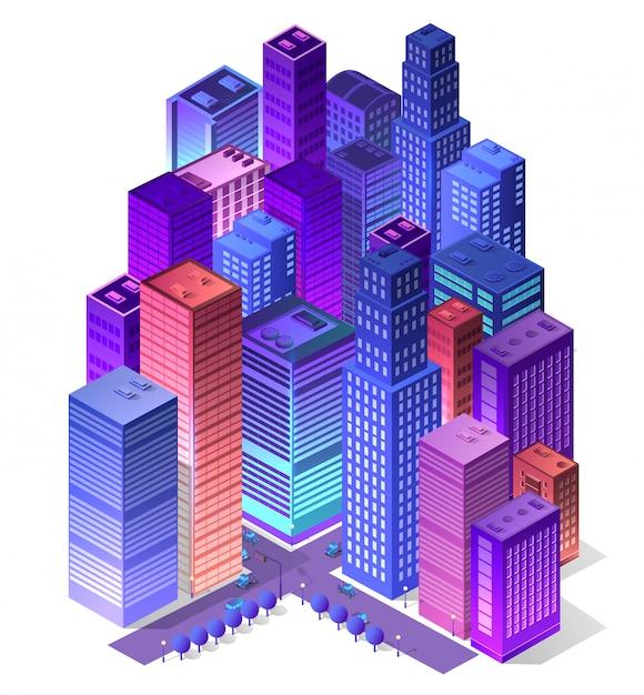Zukünftiges futuristisches isometrisches 3d Premium Vektoren