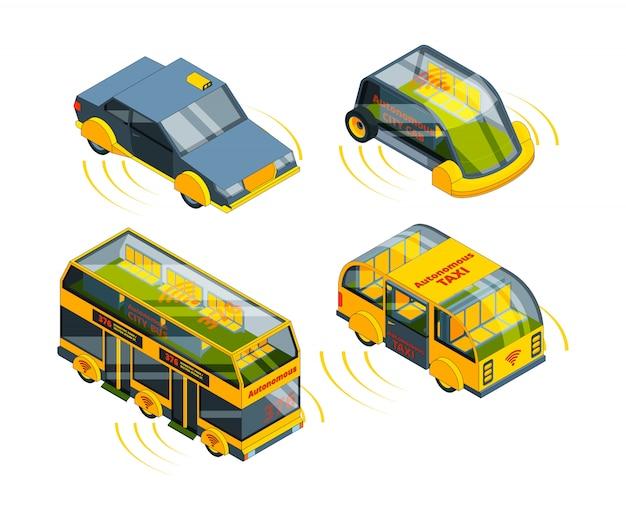 Zukünftiges unbemanntes fahrzeug. autonome transportautos busse lkws und züge selbstkontrolle automobilrobotersystem isometrisch Premium Vektoren