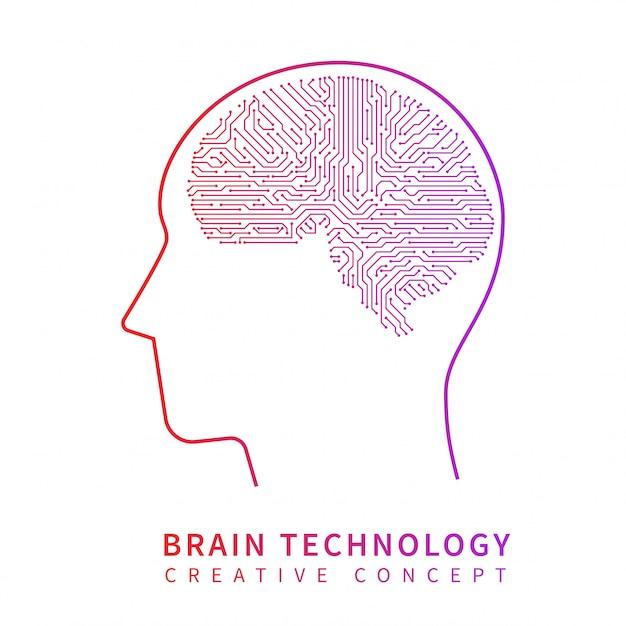 Zukunftstechnologie für künstliche intelligenz. kreatives ideenvektorkonzept des mechanischen gehirns Premium Vektoren