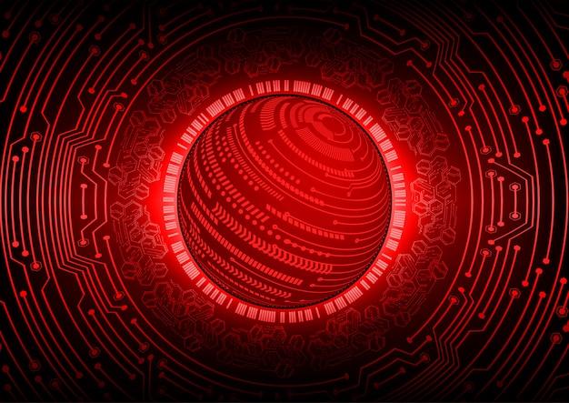 Zukunftstechnologie-konzepthintergrund des roten weltcyberstromkreises Premium Vektoren