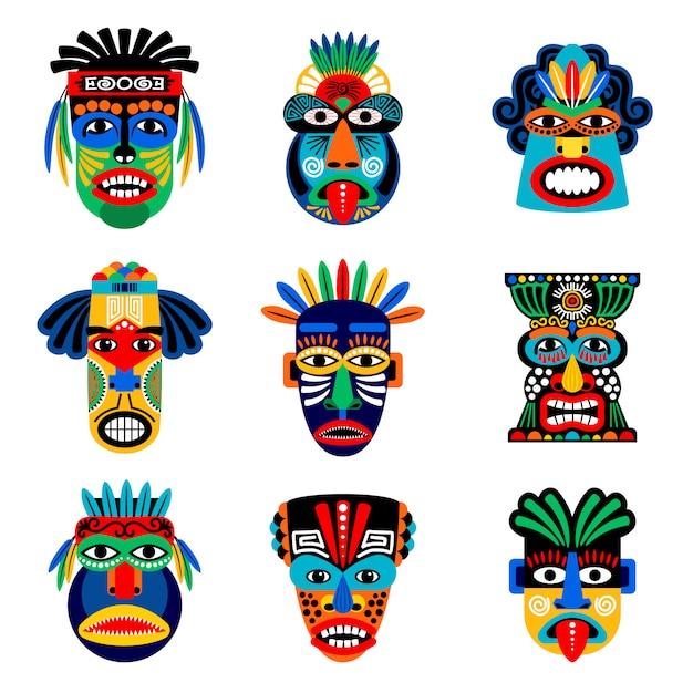 Zulu- oder aztekenmasken-vektorsatz. mexikanische indische inkakriegermasken lokalisiert Premium Vektoren