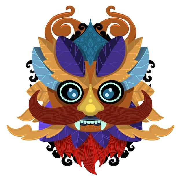 Zulu oder aztekische maskenvektorikonen. mexikanische indische inka-kriegersmasken lokalisiert auf weißem hintergrund Premium Vektoren