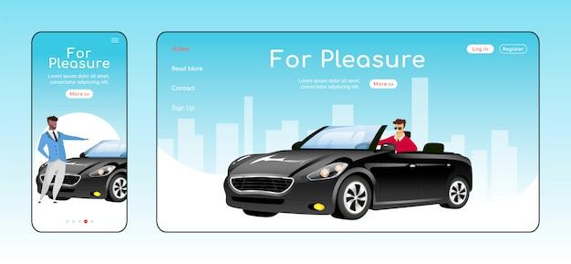 Zum vergnügen ansprechende landingpage-vorlage. homepage-layout des autohändlerservices. einseitige website-benutzeroberfläche mit zeichentrickfigur. adaptive webseite für den verkauf von luxusautos über die plattform hinweg Premium Vektoren